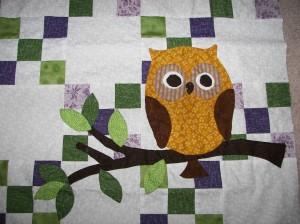 Owl finally sewn on - thanks mom!